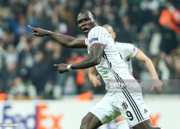 Besiktas' Vincent Aboubakar celebrates his score during Besiktas v Hapoel Beer Sheva match Uefa europa league at Vodafone Arena in stanbul Turkey on...