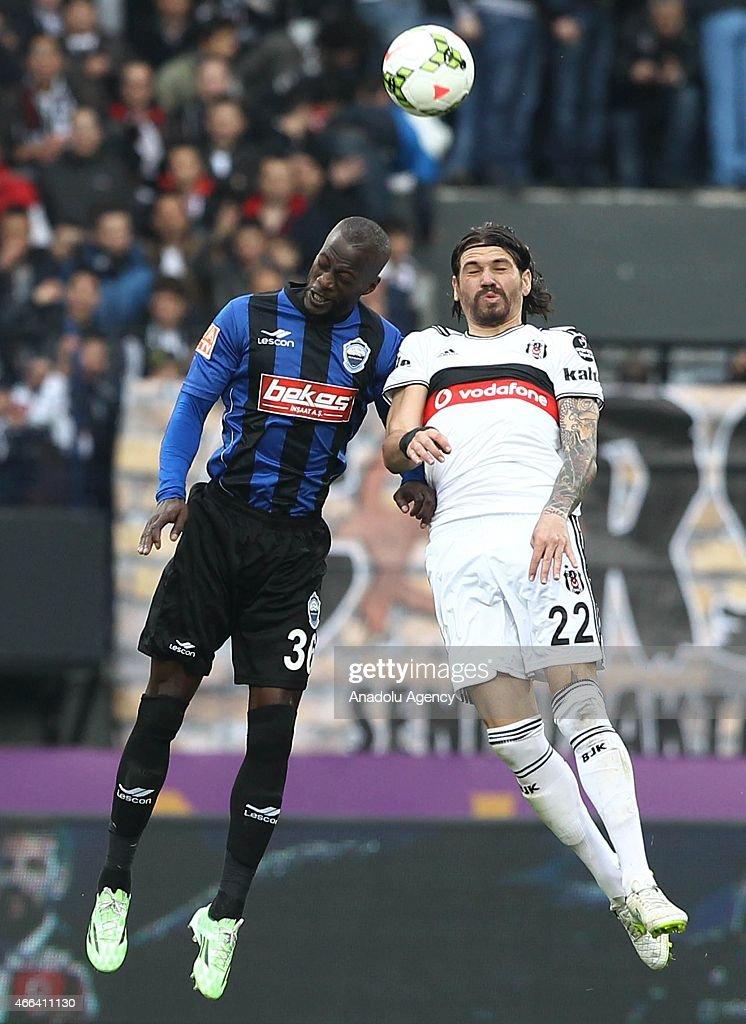 Besiktas's Adem Gulum in action against Edinho of SAI Kayseri Erciyesspor during the Turkish Spor Toto Super League football match between Besiktas...