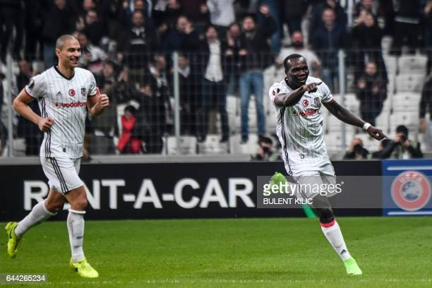 Besiktas's Cameroonian forward Vincent Aboubakar celebrates his goal against Hapoel Beersheba during the UEFA Europa League football match Besiktas...