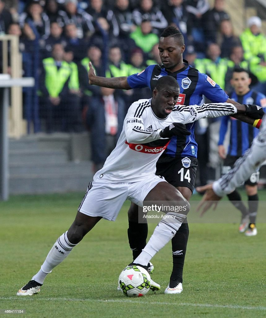 Besiktas's Demba Ba in action against Constant Mandjeck of SAI Kayseri Erciyesspor during the Turkish Spor Toto Super League football match between...