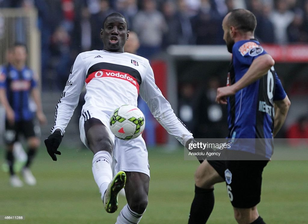 Besiktas's Demba Ba in action against Mehmet Akgun of SAI Kayseri Erciyesspor during the Turkish Spor Toto Super League football match between...