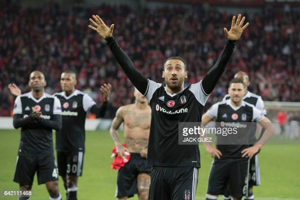 Besiktas's forward Cenk Tosun and his teammates react after the UEFA Europa League football match Hapoel Beersheba vs Besiktas on February 16 2017 at...