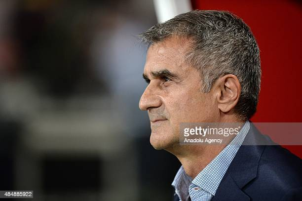 Besiktas's head coach Senol Gunes during the Turkish Spor Toto Super League football match between Besiktas and Trabzonspor at the Ataturk Olympic...