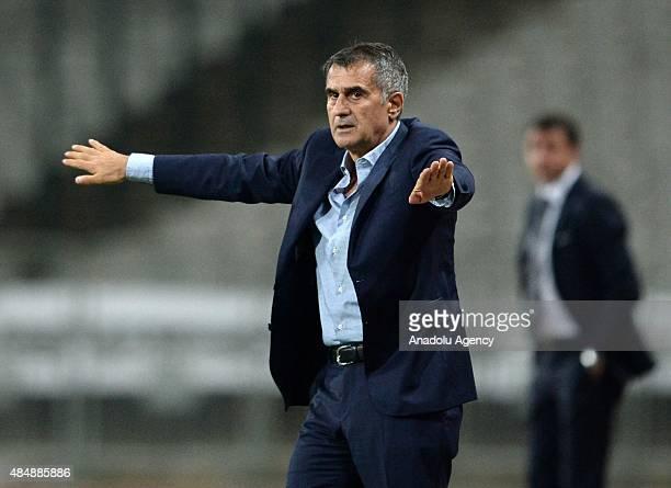 Besiktas's head coach Senol Gunes gestures during the Turkish Spor Toto Super League football match between Besiktas and Trabzonspor at the Ataturk...