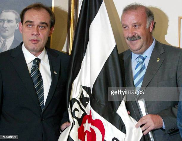 Besiktas's new head coach Vincente Del Bosque and Besiktas's president Yildirim Demiroren during their ceremony and press conference in Besiktas Club...