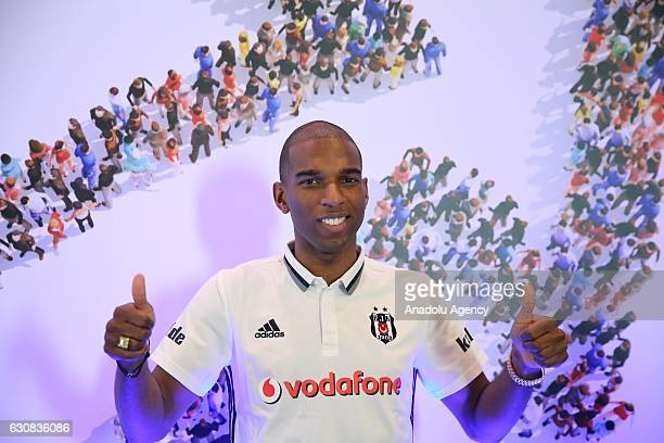Besiktas's new transfer Ryan Babel poses for a photo after a press conference at a hotel in Belek district of Antalya Turkey on January 03 2017
