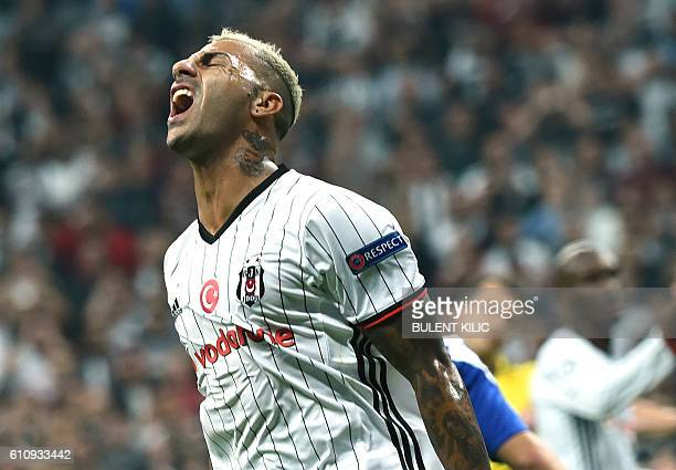 Besiktas's Ricardo Quaresma reacts during their match against Dynamo Kiev in the UEFA Champions League football match Besiktas versus Dynamo Kiev at...