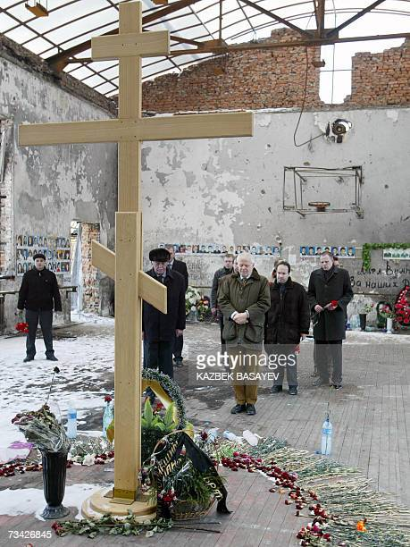 Council of Europe Commissioner for Human Rights Thomas Hammarberg pays his respect at the destroyed gym in Beslan Northern Osetia 26 February 2007...