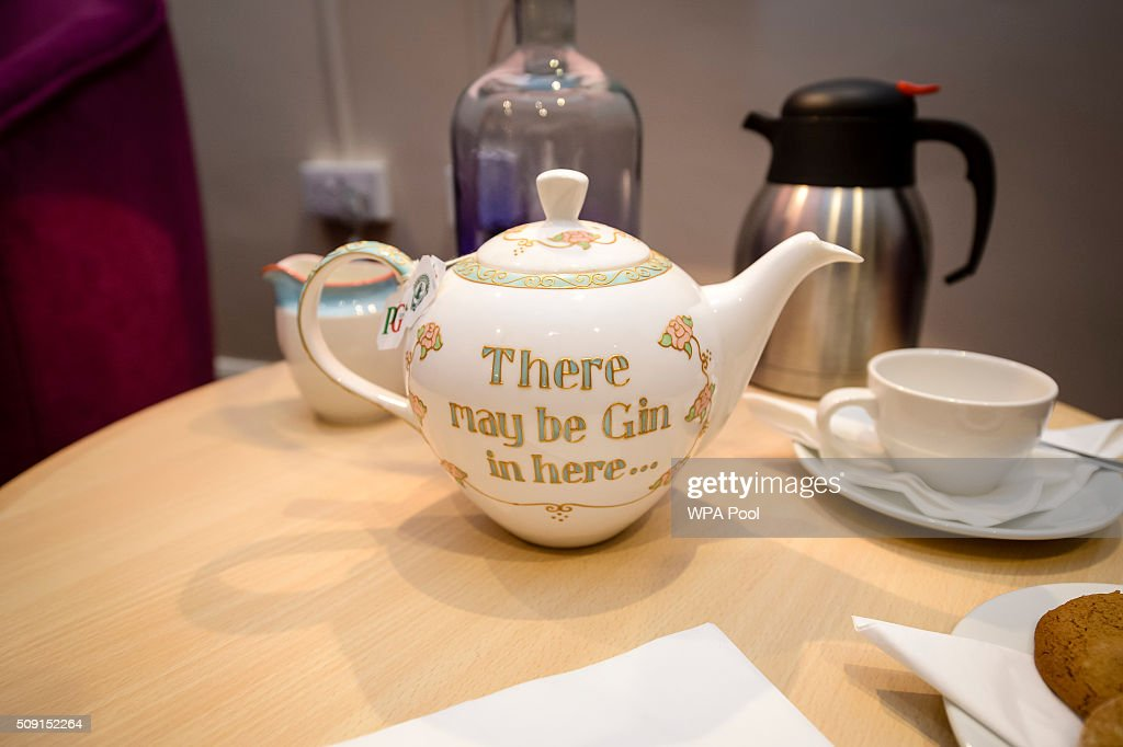 A bespoke teapot which was used to pour tea for the Duchess of Cornwall during a visit to Prospect Hospice's new facility at Savernake Hospital which gives care and support to patients, carers and families dealing with terminal illness on February 9, 2016 in Marlborough, England.