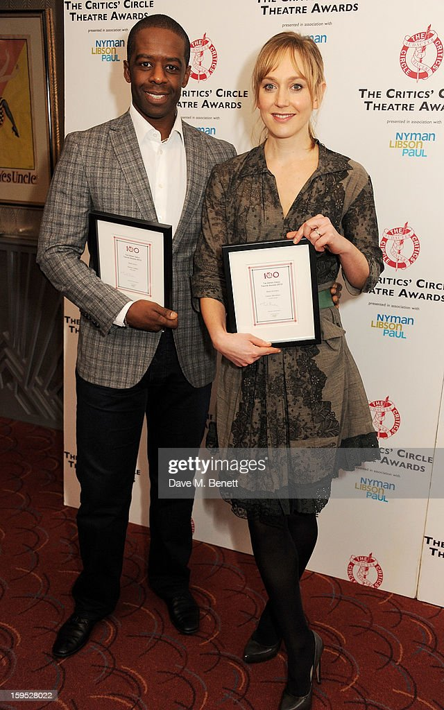 Best Actor <a gi-track='captionPersonalityLinkClicked' href=/galleries/search?phrase=Adrian+Lester&family=editorial&specificpeople=215408 ng-click='$event.stopPropagation()'>Adrian Lester</a> (L) and Best Actress Hattie Morahan attend the 2013 Critics' Circle Theatre Awards at the Prince Of Wales Theatre on January 15, 2013 in London, England.