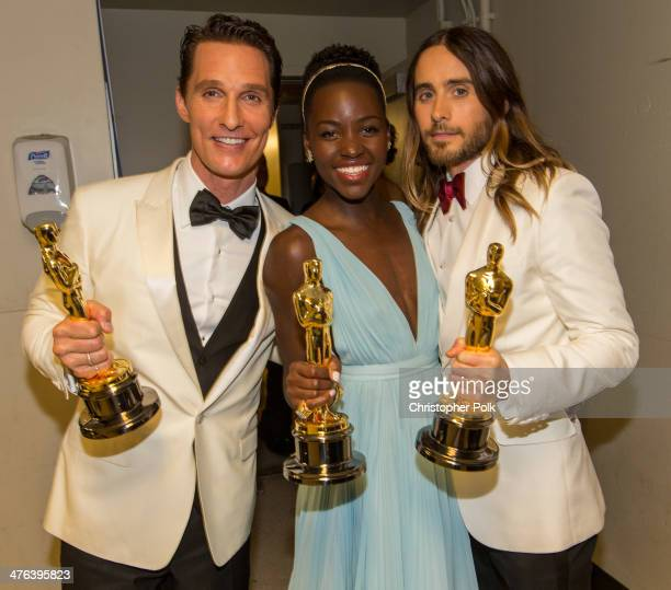 Best Actor and Best Supporting actors Matthew McConaughey and Jared Leto pose backstage with Best Supporting Actress winner Lupita Nyong'o during the...