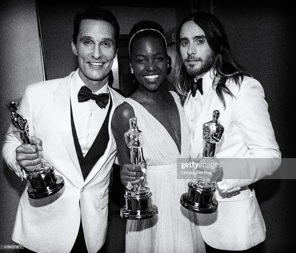 Best Actor and Best Supporting actors Matthew McConaughey and Jared Leto pose backstage with Best Supporting Actress winner Lupita Nyong'o during the Oscars held at Dolby Theatre on March 2, 2014 in Hollywood, California.