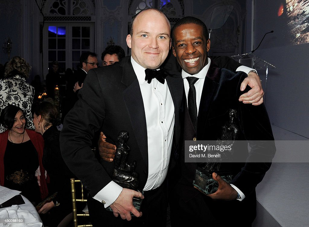 Best Actor joint winners Rory Kinnear (L) and <a gi-track='captionPersonalityLinkClicked' href=/galleries/search?phrase=Adrian+Lester&family=editorial&specificpeople=215408 ng-click='$event.stopPropagation()'>Adrian Lester</a> attend an after party following the 59th London Evening Standard Theatre Awards at The Savoy Hotel on November 17, 2013 in London, England.