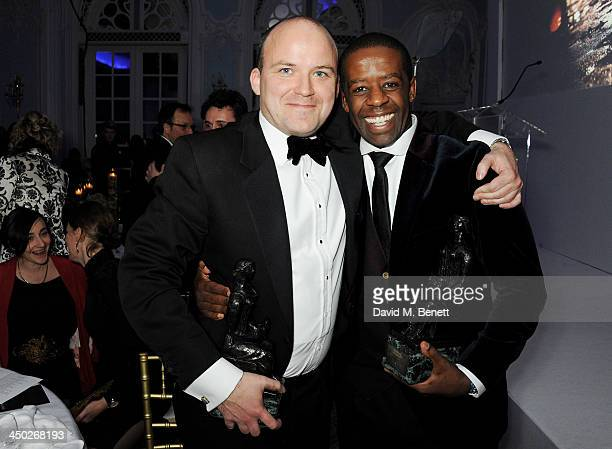 Best Actor joint winners Rory Kinnear and Adrian Lester attend an after party following the 59th London Evening Standard Theatre Awards at The Savoy...
