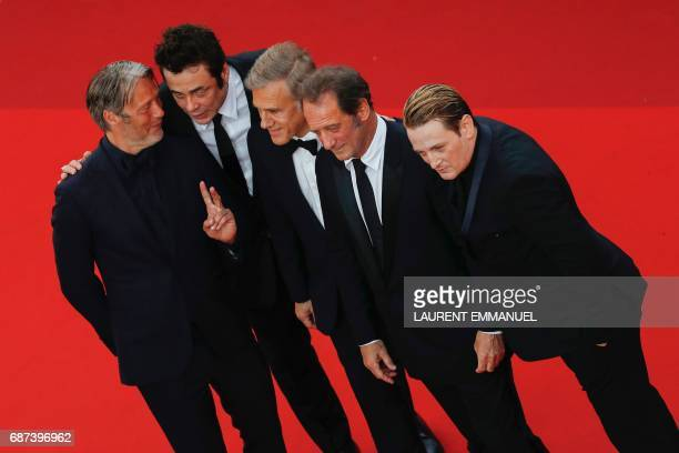 Best actor laureates Danish actor Mads Mikkelsen Puerto Rican actor Benicio del Toro Austrian actor Christoph Waltz French actor Vincent Lindon amd...