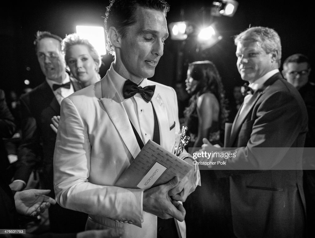 Best Actor <a gi-track='captionPersonalityLinkClicked' href=/galleries/search?phrase=Matthew+McConaughey&family=editorial&specificpeople=201663 ng-click='$event.stopPropagation()'>Matthew McConaughey</a> backstage during 86th Annual Academy Awards held at Dolby Theatre on March 2, 2014 in Hollywood, California.