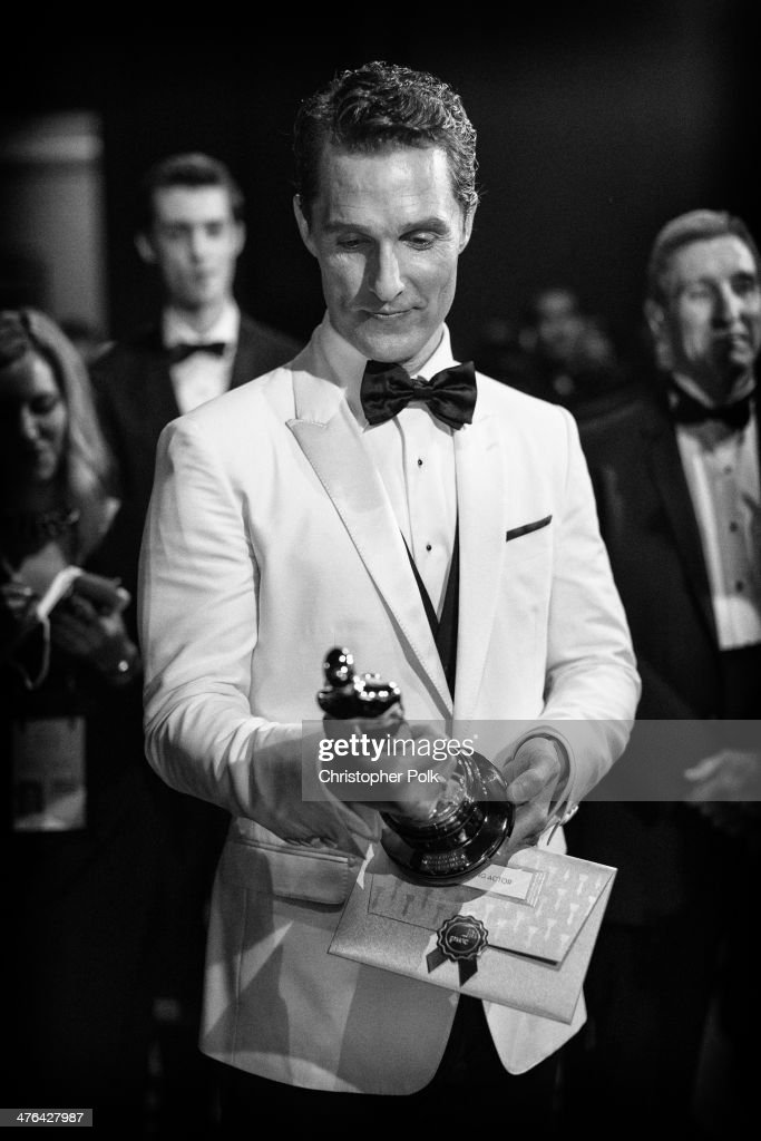Best Actor <a gi-track='captionPersonalityLinkClicked' href=/galleries/search?phrase=Matthew+McConaughey&family=editorial&specificpeople=201663 ng-click='$event.stopPropagation()'>Matthew McConaughey</a> backstage during the Oscars held at Dolby Theatre on March 2, 2014 in Hollywood, California.
