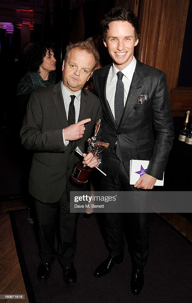Best Actor winner <a gi-track='captionPersonalityLinkClicked' href=/galleries/search?phrase=Toby+Jones&family=editorial&specificpeople=2394459 ng-click='$event.stopPropagation()'>Toby Jones</a> (L) and <a gi-track='captionPersonalityLinkClicked' href=/galleries/search?phrase=Eddie+Redmayne&family=editorial&specificpeople=2554844 ng-click='$event.stopPropagation()'>Eddie Redmayne</a> attend the London Evening Standard British Film Awards supported by Moet & Chandon and Chopard at the London Film Museum on February 4, 2013 in London, England.