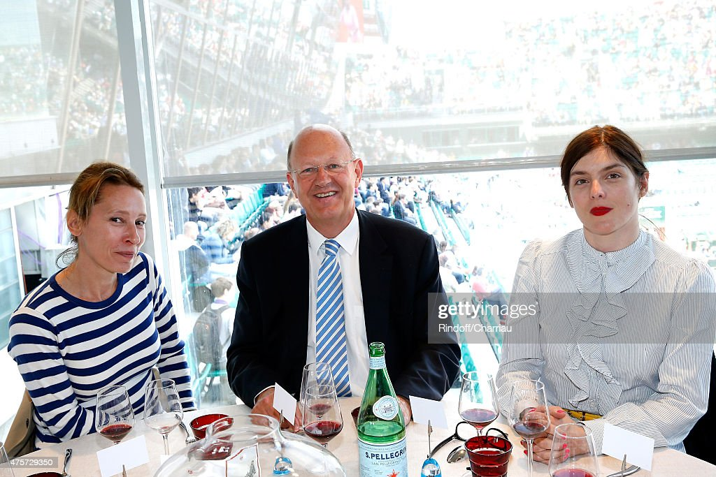 Best Actress at Cannes Film Festival 2015, Emmanuelle Bercot, President of France Television Remy Pflimlin and Actress Valerie Donzelli attend the 2015 Roland Garros French Tennis Open - Day Eleven, on June 3, 2015 in Paris, France.
