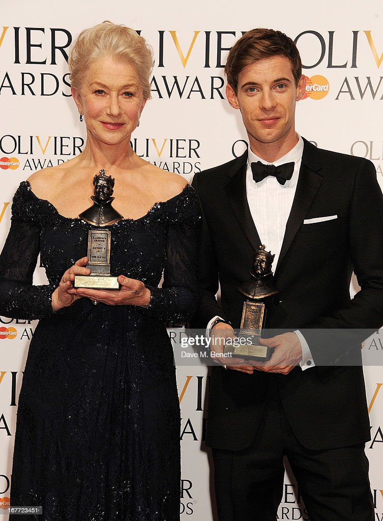 Best Actress Dame Helen Mirren and Best Actor Luke Treadaway pose in the press room at The Laurence Olivier Awards 2013 at The Royal Opera House on...