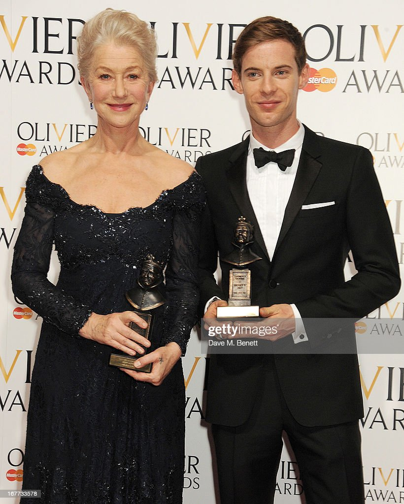 Best Actress Dame Helen Mirren (L) and Best Actor Luke Treadaway pose in the press room at The Laurence Olivier Awards 2013 at The Royal Opera House on April 28, 2013 in London, England.