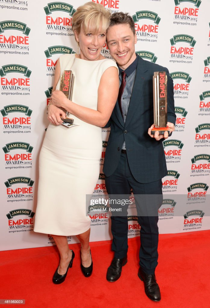 Best Actress <a gi-track='captionPersonalityLinkClicked' href=/galleries/search?phrase=Emma+Thompson&family=editorial&specificpeople=202848 ng-click='$event.stopPropagation()'>Emma Thompson</a> (L) and Best Actor <a gi-track='captionPersonalityLinkClicked' href=/galleries/search?phrase=James+McAvoy&family=editorial&specificpeople=647005 ng-click='$event.stopPropagation()'>James McAvoy</a> pose in the press room at the Jameson Empire Awards 2014 at The Grosvenor House Hotel on March 30, 2014 in London, England.