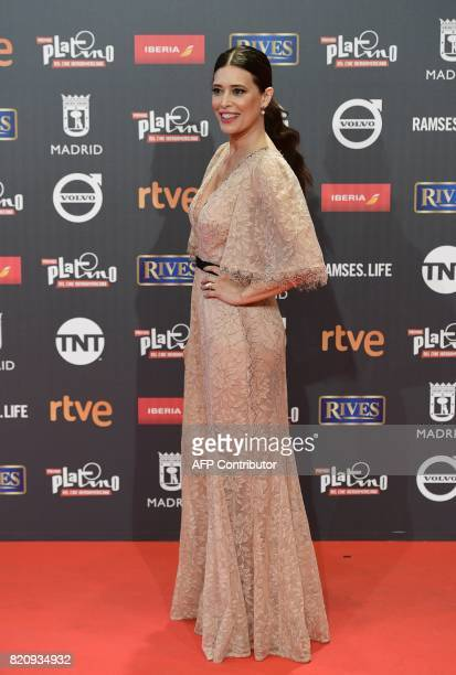 Best actress nominee Colombian actress Angie Cepeda poses on the red carpet during the 4th edition of the 'Premios Platino' for IberoAmerican Cinema...