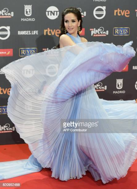 Best actress nominee Uruguayan actress Natalia Oreiro poses on the red carpet during the 4th edition of the 'Premios Platino' for IberoAmerican...