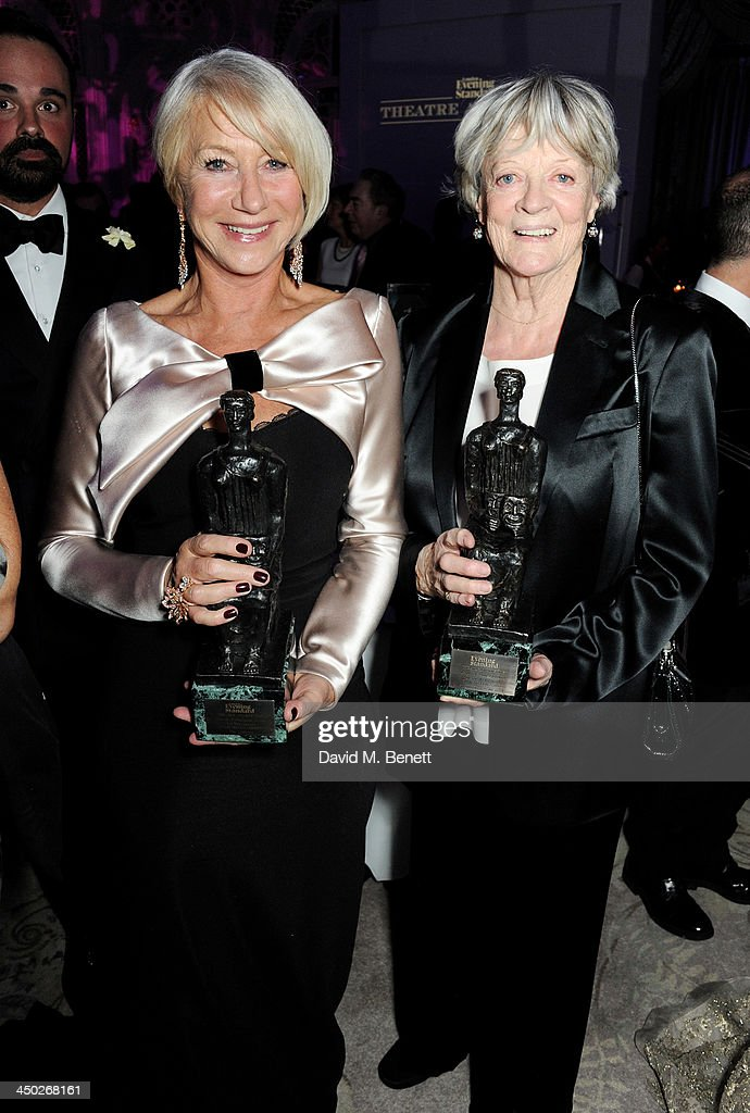 Best Actress winner Dame <a gi-track='captionPersonalityLinkClicked' href=/galleries/search?phrase=Helen+Mirren&family=editorial&specificpeople=201576 ng-click='$event.stopPropagation()'>Helen Mirren</a> (L) and Icon Award winner Dame <a gi-track='captionPersonalityLinkClicked' href=/galleries/search?phrase=Maggie+Smith&family=editorial&specificpeople=206821 ng-click='$event.stopPropagation()'>Maggie Smith</a> attend an after party following the 59th London Evening Standard Theatre Awards at The Savoy Hotel on November 17, 2013 in London, England.