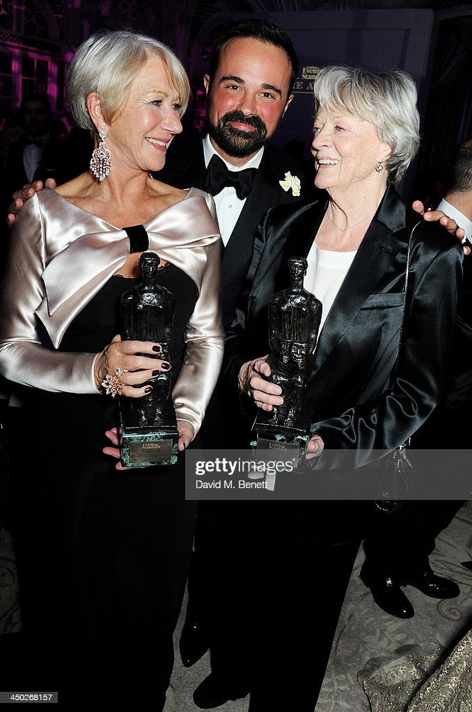 Best Actress winner Dame <a gi-track='captionPersonalityLinkClicked' href=/galleries/search?phrase=Helen+Mirren&family=editorial&specificpeople=201576 ng-click='$event.stopPropagation()'>Helen Mirren</a>, owner of the London Evening Standard <a gi-track='captionPersonalityLinkClicked' href=/galleries/search?phrase=Evgeny+Lebedev&family=editorial&specificpeople=584718 ng-click='$event.stopPropagation()'>Evgeny Lebedev</a> and Icon Award winner Dame <a gi-track='captionPersonalityLinkClicked' href=/galleries/search?phrase=Maggie+Smith&family=editorial&specificpeople=206821 ng-click='$event.stopPropagation()'>Maggie Smith</a> attend an after party following the 59th London Evening Standard Theatre Awards at The Savoy Hotel on November 17, 2013 in London, England.