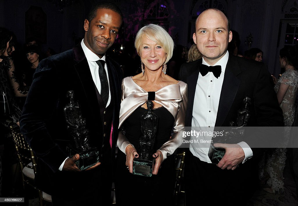 Best Actress winner Dame <a gi-track='captionPersonalityLinkClicked' href=/galleries/search?phrase=Helen+Mirren&family=editorial&specificpeople=201576 ng-click='$event.stopPropagation()'>Helen Mirren</a> (C) poses with Best Actor joint winners <a gi-track='captionPersonalityLinkClicked' href=/galleries/search?phrase=Adrian+Lester&family=editorial&specificpeople=215408 ng-click='$event.stopPropagation()'>Adrian Lester</a> and Rory Kinnear at an after party following the 59th London Evening Standard Theatre Awards at The Savoy Hotel on November 17, 2013 in London, England.