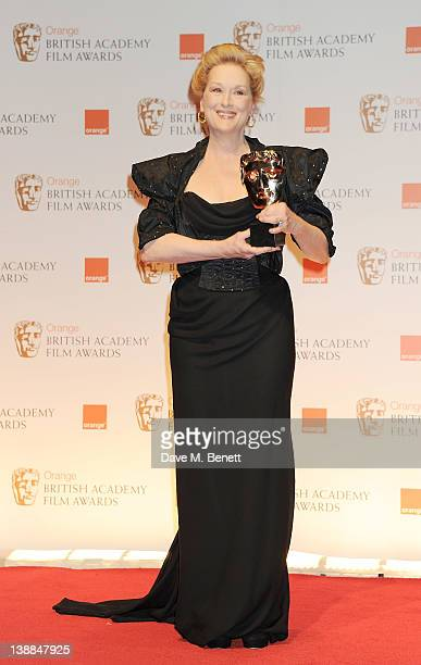 Best Actress winner Meryl Streep poses in the press room at the Orange British Academy Film Awards 2012 at The Royal Opera House on February 12 2012...