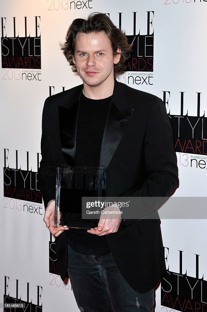 Best Britsh Designer of the Year winner Christopher Kane poses in the press room during the Elle Style Awards at The Savoy Hotel on February 11, 2013 in London, England.