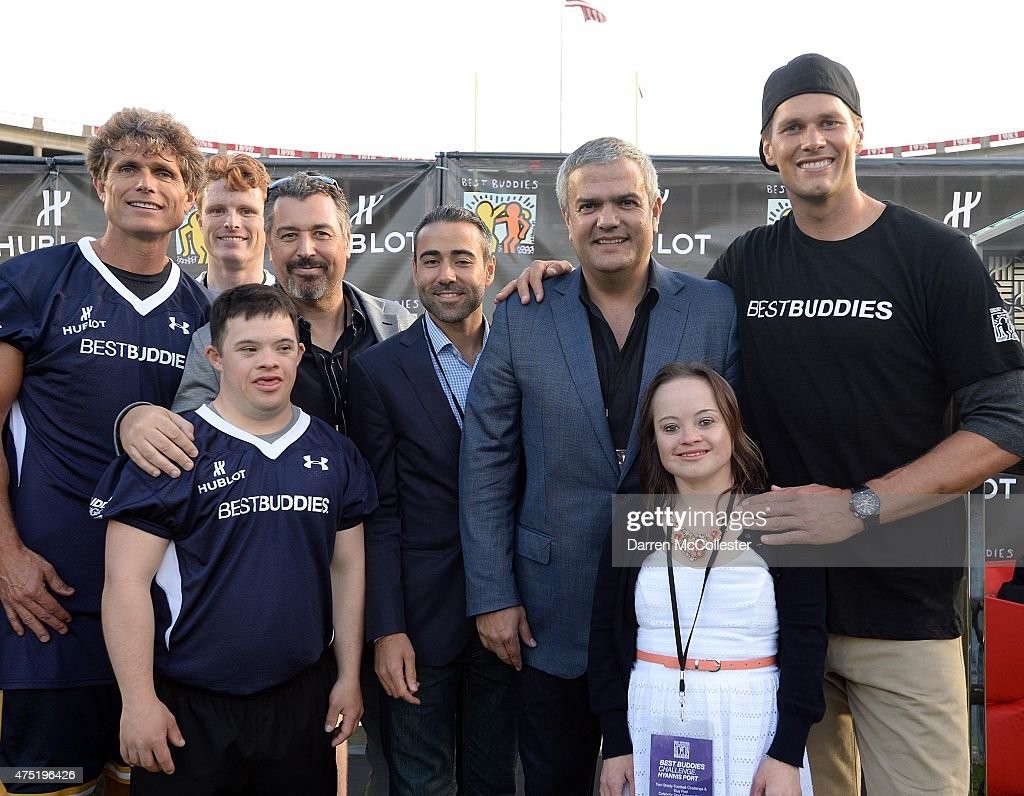 Best Buddies Founder <a gi-track='captionPersonalityLinkClicked' href=/galleries/search?phrase=Anthony+Shriver&family=editorial&specificpeople=727552 ng-click='$event.stopPropagation()'>Anthony Shriver</a>, U.S. Representative Joe Kennedy III, Hublot JV President Rick de la Croix, Hublot Managing Director Jean-Francois Sberro, Hublot CEO <a gi-track='captionPersonalityLinkClicked' href=/galleries/search?phrase=Ricardo+Guadalupe&family=editorial&specificpeople=6572368 ng-click='$event.stopPropagation()'>Ricardo Guadalupe</a>, and New England Patriot <a gi-track='captionPersonalityLinkClicked' href=/galleries/search?phrase=Tom+Brady+-+American+Football+Quarterback&family=editorial&specificpeople=201737 ng-click='$event.stopPropagation()'>Tom Brady</a> with guests attend the Best Buddies Challenge Kick Off on May 29, 2015 in Boston, Massachusetts.