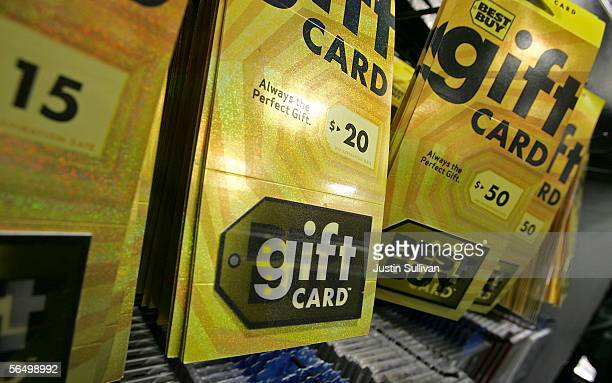 Best Buy gift cards are seen on display at a Best Buy store December 29 2005 in San Francisco California Retailers experience a rise in gift card...