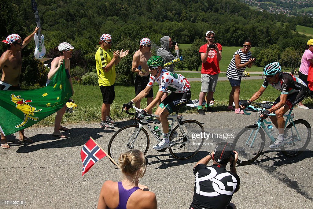 Best climber Pierre Rolland of France and Team Europcar, Jens Voigt of Germany and Team Radioshack Leopard rides during stage twenty of the 2013 Tour de France, a 125KM road stage from Annecy to Annecy-Semnoz, on July 20, 2013 in Annecy, France.
