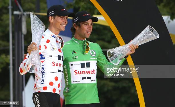 Best climber Warren Barguil of France and Team Sunweb and teammate best sprinter Michael Matthews of Australia and Team Sunweb during the trophy...