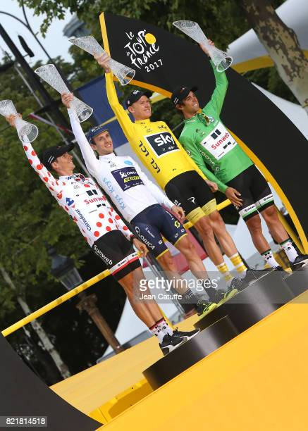 Best climber Warren Barguil of France and Team Sunweb best young rider Simon Yates of Great Britain and OricaScott winner Christopher Froome of Great...