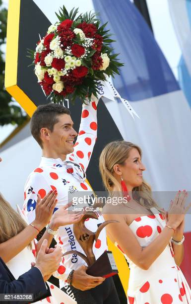 Best climber Warren Barguil of France and Team Sunweb during the trophy ceremony following stage 21 of the Tour de France 2017 a 103km race between...
