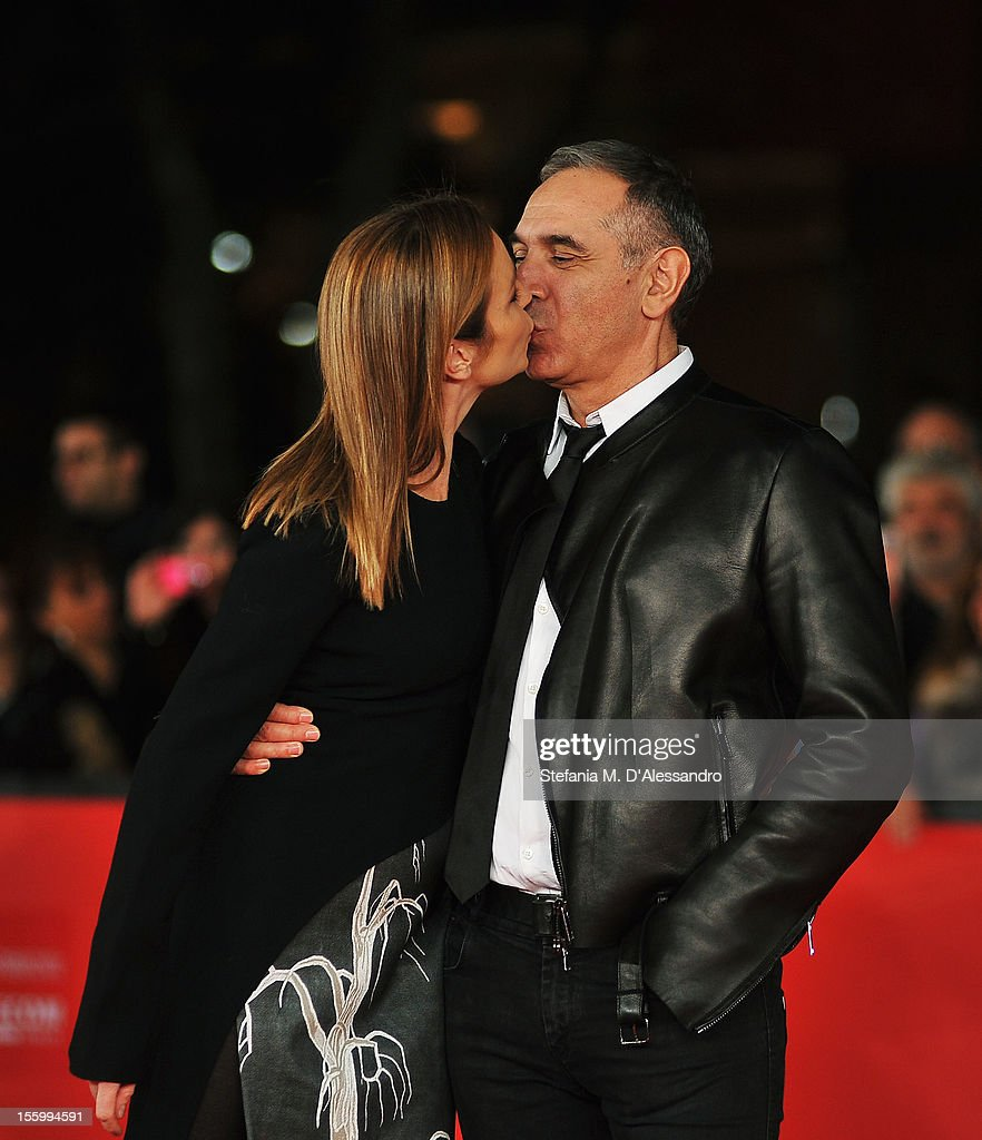 Best Debut and Second Film Award Jury member Stefania Rocca and CEO of Costume National Carlo Capasa kiss as they attend the Opera Prima And Seconda...