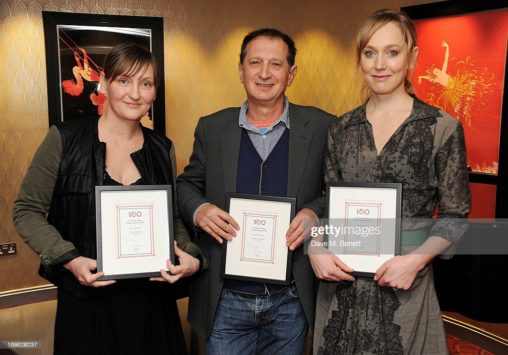 Best Designer Miriam Buether, David Lan, accepting on behalf of Best Director winner Benedict Andrews, and Best Actress Hattie Morahan attend the 2013 Critics' Circle Theatre Awards at the Prince Of Wales Theatre on January 15, 2013 in London, England.
