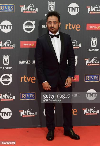 Best direction nominee Spanish film director Juan Antonio Bayona poses on the red carpet during the 4th edition of the 'Premios Platino' for...