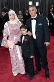 Best Documentary Feature nominee Emad Burnat his wife Soreya and sohn Jibrel arrive at the Oscars at Hollywood Highland Center on February 24 2013 in...