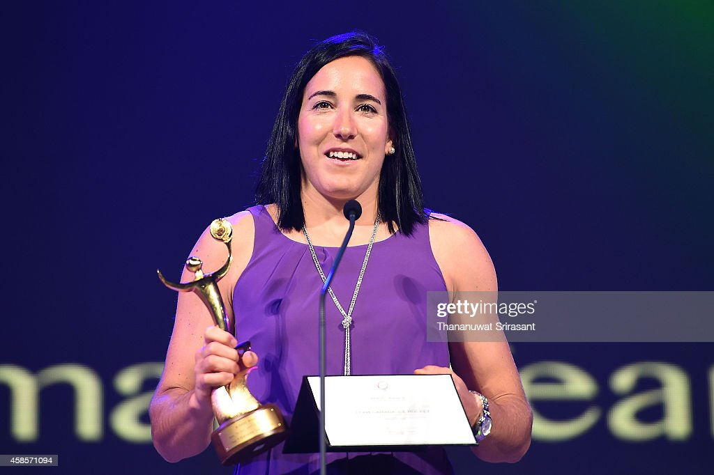 Best Female Team of Sochi 2014 award winner for Team Canada Ice Hockey, <a gi-track='captionPersonalityLinkClicked' href=/galleries/search?phrase=Caroline+Ouellette&family=editorial&specificpeople=722185 ng-click='$event.stopPropagation()'>Caroline Ouellette</a> accepts the award during 1st ANOC Gala awards at Bangkok ANOC 2014 on November 7, 2014 in Bangkok, Thailand.