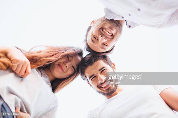 Best friends embraced enjoy looking down