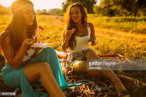 Beste Freunde, Picknick und genießen Sie schöne Tag