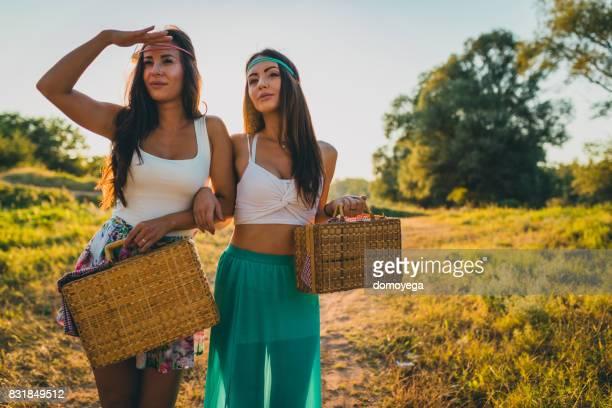 Beste Freunde mit Picknick an einem schönen Sommertag
