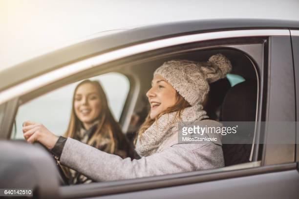 Best friends in car