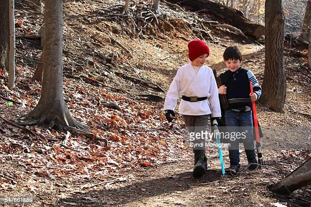 Best Friends Walking in the Woods