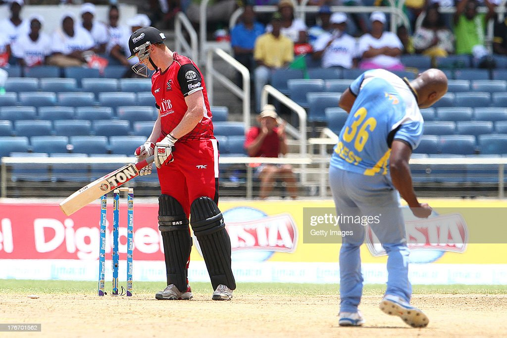 Best gets O'Brian during the Eighteenth Match of the Cricket Caribbean Premier League between St. Lucia Zouks v Trinidad and Tobago Red Steel at Sabina Park on August 17, 2013 in Kingston, Jamaica.